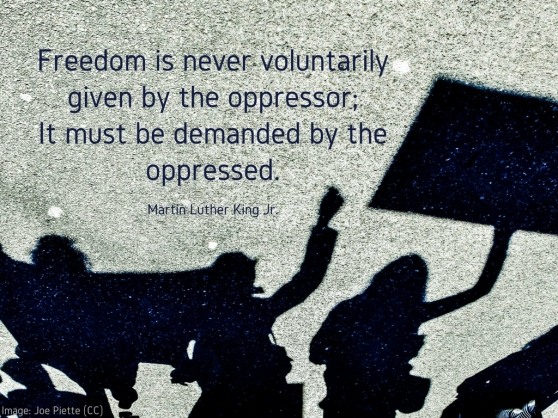 Freedom is never voluntarily given by the oppressor; it must be demanded by the oppressed..jpg